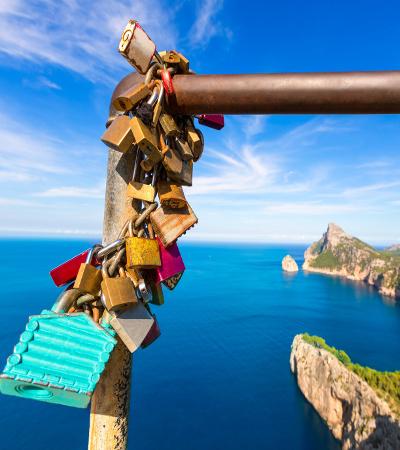 Majorca mirador Formentor Cape in Mallorca island of spain padlocks detail